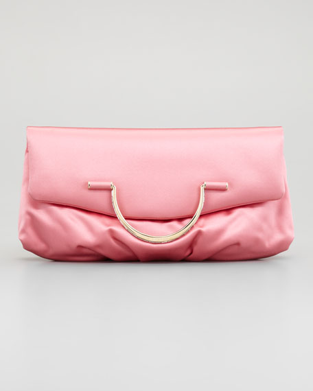 Satin Bijou Pouchette Clutch Bag, Rose Coral