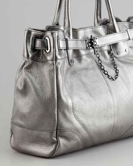 Zoe Deux Metallic Tote Bag, Pewter