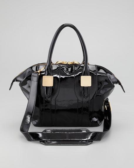 Morrison Small Patent Tote Bag, Black