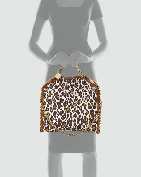 Falabella Fold-Over Leopard-Canvas Tote Bag