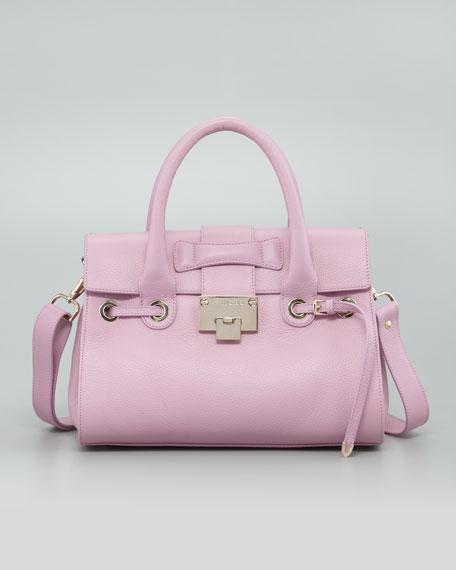 Rosalie Grainy Calf Satchel Bag, Peony