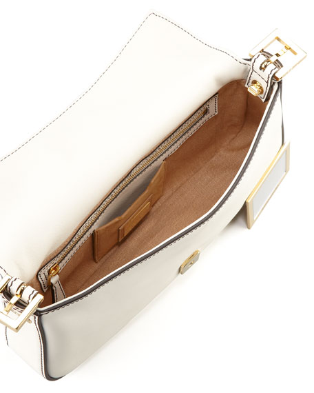 Leather Baguette with Interchangeable Straps, White