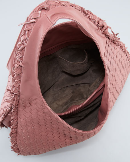 Intrecciato Duo Hobo Bag, Coral