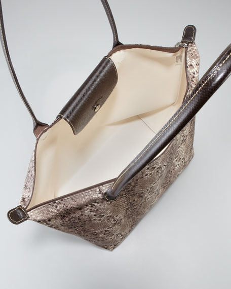 Le Pliage Pythone-Print Shoulder Tote Bag, Clay