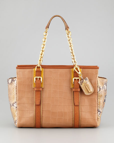 More is More Reptile-Embossed Leather Shoulder Bag, Camel