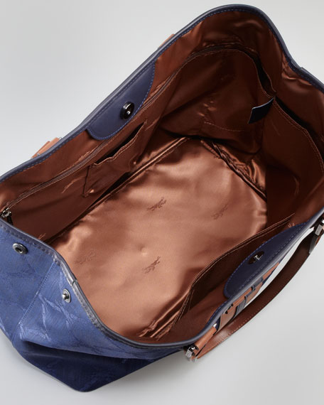 LM Jacquard Shoulder Tote Bag, Indigo
