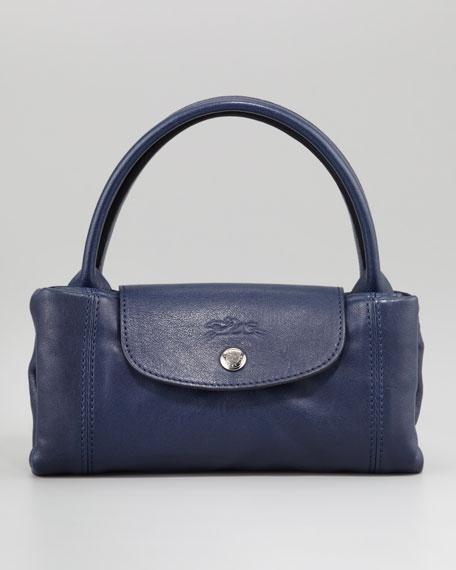 Le Pliage Cuir Small Handbag with Strap Navy