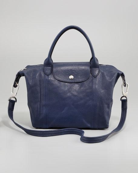 Le Pliage Cuir Small Handbag with Strap, Navy