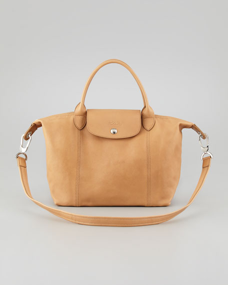 Le Pliage Cuir Small Handbag with Strap, Natural