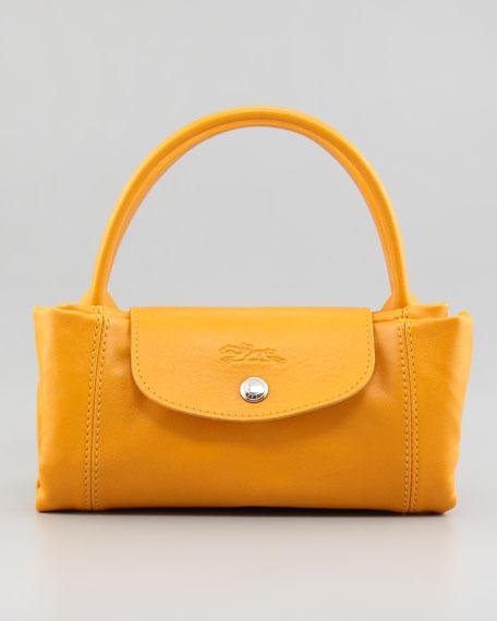 Le Pliage Cuir Small Handbag with Strap, Sunshine