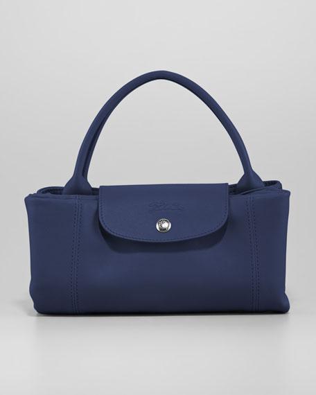 Le Pliage Cuir Medium Handbag with Strap,, Navy