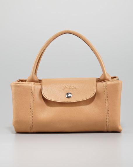 Le Pliage Cuir Medium Handbag with Strap, Natural
