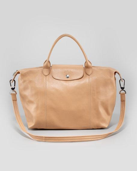 Le Pliage Cuir Medium Handbag with Strap Natural