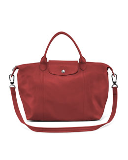 Longchamp Le Pliage Cuir Medium Handbag with Strap, Red