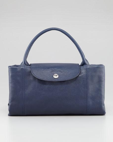 Le Pliage Cuir Large Handbag with Strap, Navy