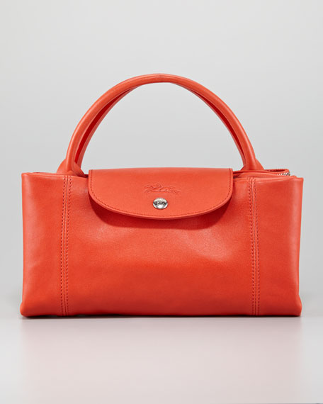 Le Pliage Cuir Large Handbag with Strap, Paprika