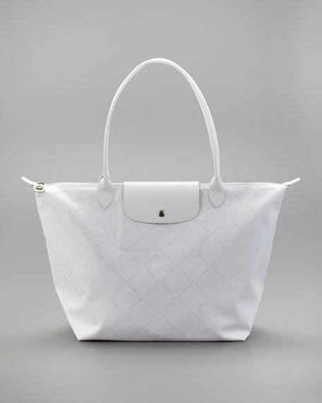 LM Metal Large Shoulder Tote Bag, White