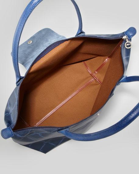LM Metal Large Shoulder Tote Bag, Navy