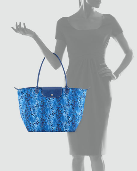 Le Pliage Python-Print Tote Bag, Indigo