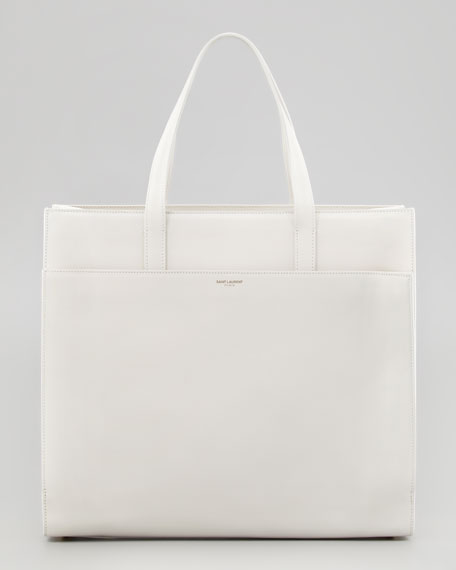 Flat Shopping Tote Bag, Off White
