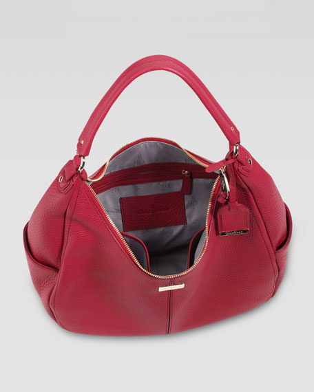 Village Rounded Hobo Bag, Red
