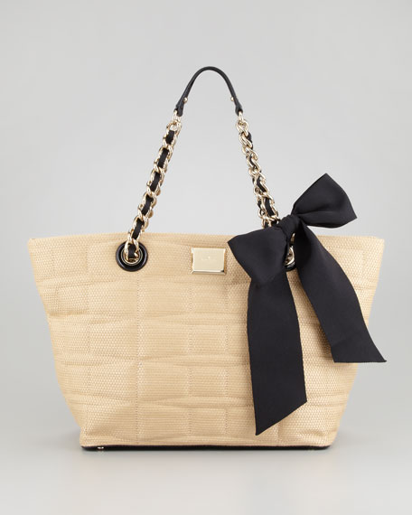 signature spade small straw coal tote bag, natural
