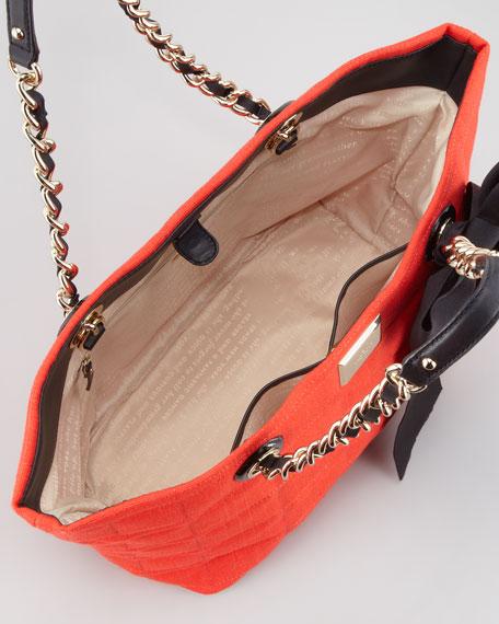 signature spade small linen coal tote bag, cherry