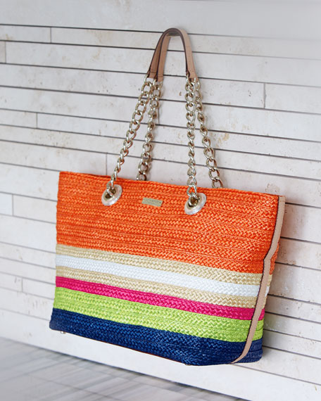 chelsea market small striped straw coal tote bag, multi