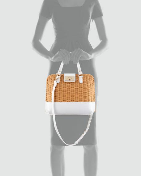 waverly terrace medium wicker satchel bag, natural/white