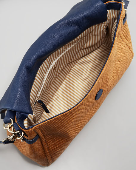 cobble hill little minka straw hobo bag, natural/navy