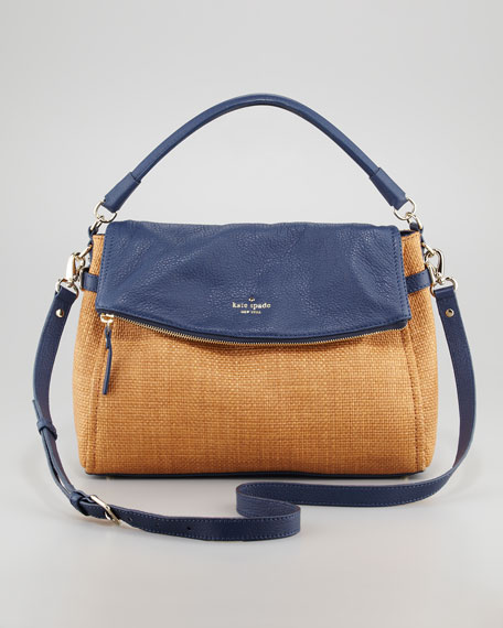 cobble hill little minka straw hobo bag, natural/navy