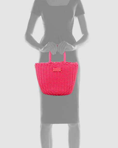 beach club beth basket tote bag, pink