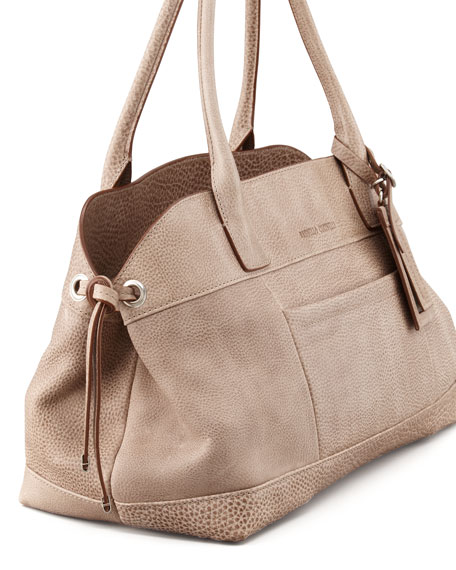 Matte Pebbled Leather Satchel Bag, Mushroom
