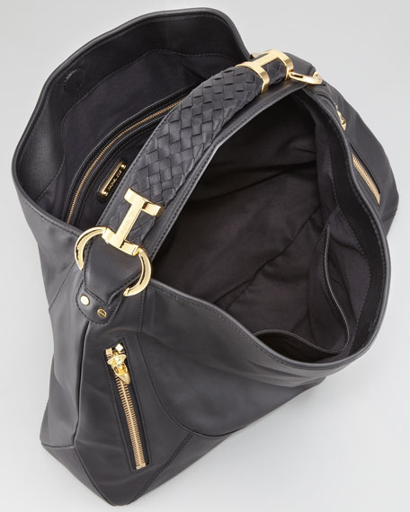 Joni Leather Hobo Bag, Black