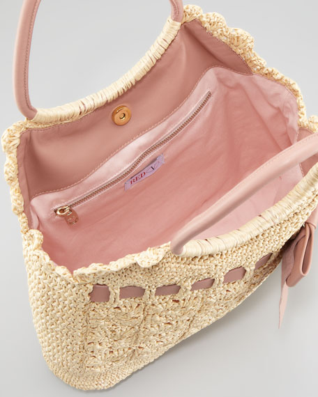Leather and Crochet Raffia Tote Bag
