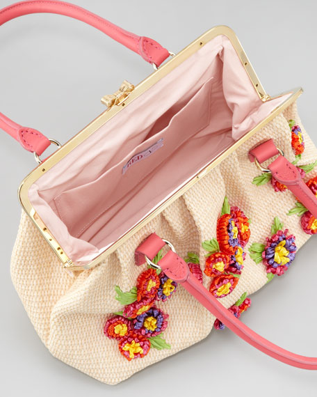 Floral Woven Raffia Frame-Top Handbag