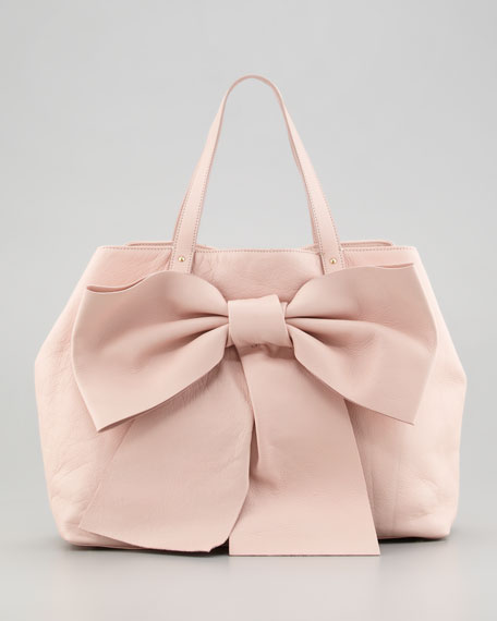 Calfskin Bow Tote Bag, Tan