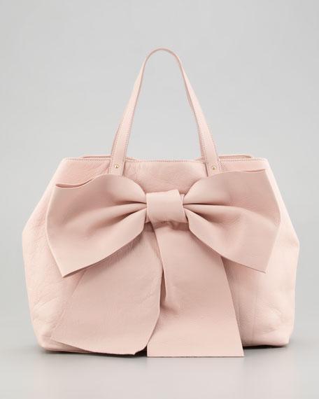 Calfskin Bow Tote Bag Tan