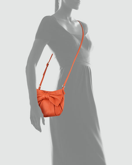 Bow-Front Calfskin Small Crossbody Bag, Orange