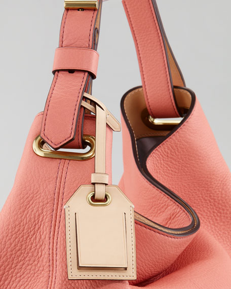 Deerskin Hobo Bag, Coral