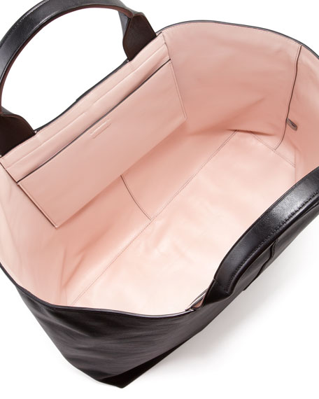 Track Leather Tote Bag, Black