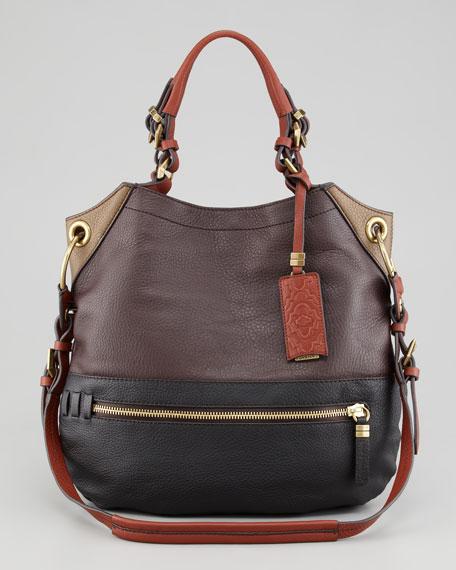 Sydney Colorblock Large Shoulder Bag, Brown
