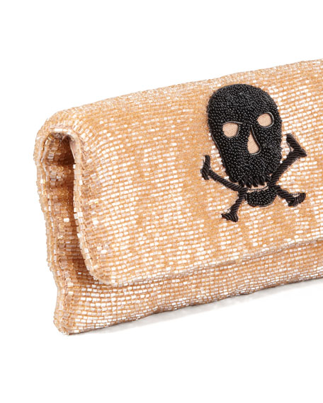 Skull Beaded Fold-Over Clutch Bag, Taupe