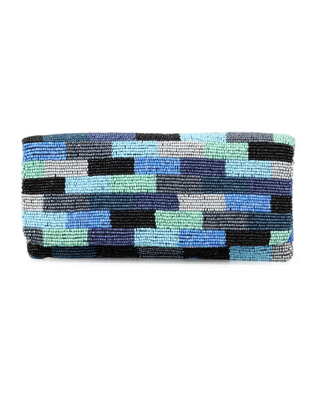 Colorblock Beaded Fold-Over Clutch Bag, Blue