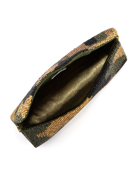Camouflage Beaded Clutch Bag, Olive