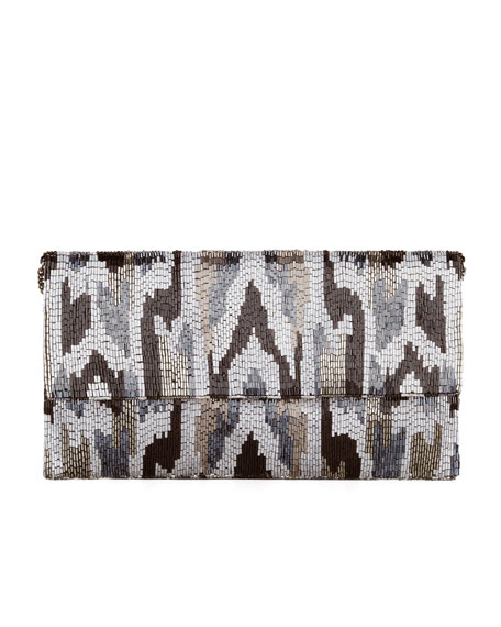 Ikat Beaded Large Fold-Over Clutch Bag, Pewter