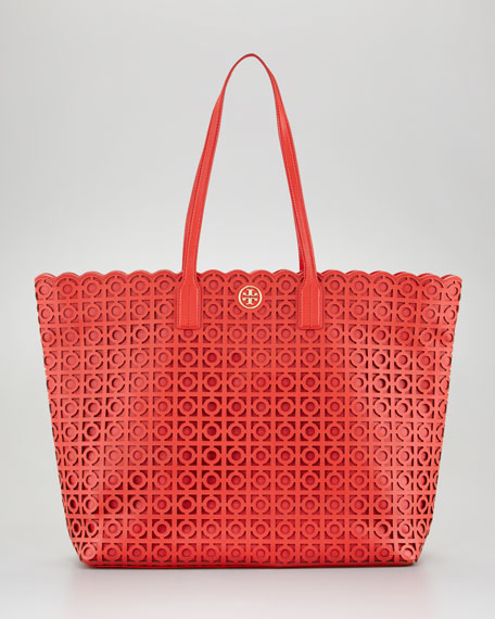 Kelsey Laser-Cut East-West Tote Bag, Red