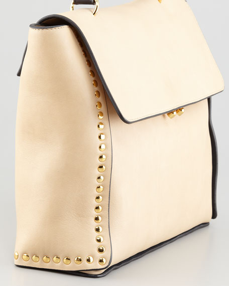 Studded Front-Flap Tote Bag