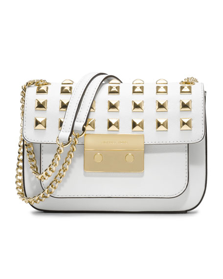 Small Sloan Pyramid-Stud Saffiano Flap Bag