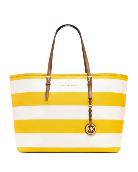 Medium Jet Set Striped Travel Tote